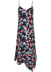 Equipment Woman Jada Asymmetric Printed Washed-silk Midi Dress Black
