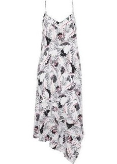 Equipment Woman Jada Asymmetric Printed Washed-silk Midi Dress White