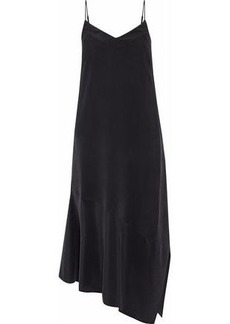 Equipment Woman Jada Asymmetric Washed-silk Midi Slip Dress Black
