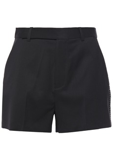 Equipment Woman Jeannine Embroidered Wool-twill Shorts Black