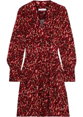 Equipment Woman Jenesse Wrap-effect Leopard-jacquard Mini Wrap Dress Red