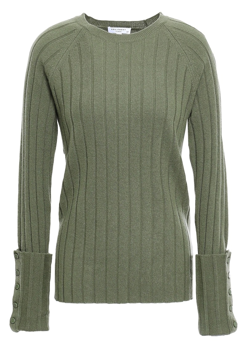 Equipment Woman Joella Ribbed Wool And Cashmere-blend Sweater Leaf Green