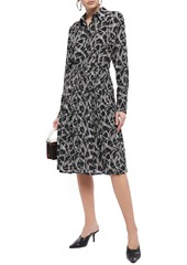 Equipment Woman Julee Pleated Printed Silk Crepe De Chine Shirt Dress Black