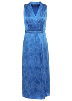 Equipment Woman Katherine Wrap-effect Printed Silk-satin Midi Dress Cobalt Blue