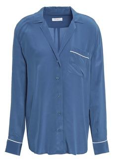 Equipment Woman Keira Washed-silk Shirt Light Blue