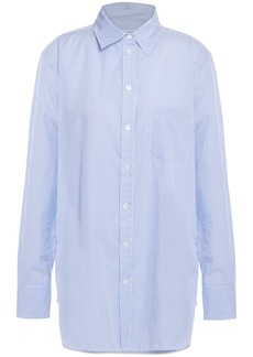 Equipment Woman Kenton Striped Cotton-poplin Shirt Light Blue
