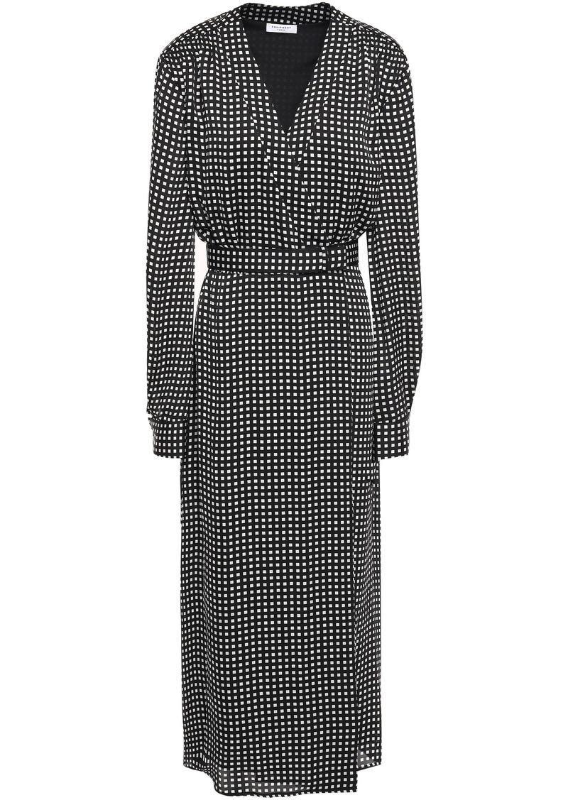 Equipment Woman Kortni Belted Gingham Crepe Midi Wrap Dress Black