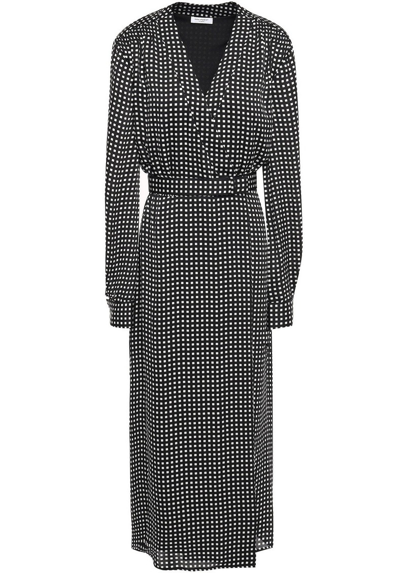 Equipment Woman Kortni Belted Gingham Crepe Midi Wrap Dress Black