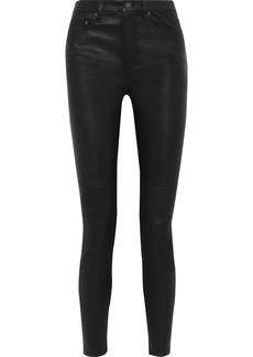 Equipment Woman Leather Skinny Pants Black