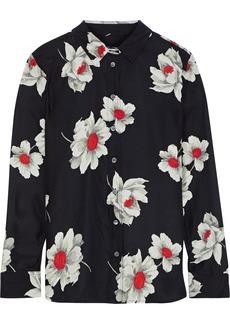 Equipment Woman Leema Floral-print Washed-silk Shirt Black