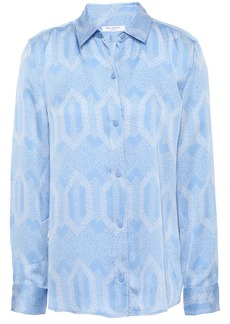 Equipment Woman Leema Printed Washed-satin Shirt Light Blue
