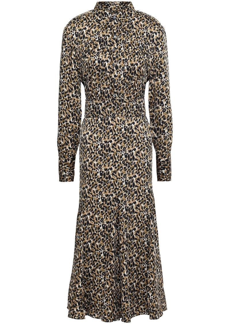 Equipment Woman Lenora Leopard-print Washed-crepe Midi Dress Animal Print
