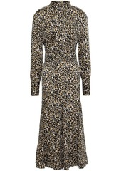 Equipment Woman Lenora Leopard-print Washed-crepe Midi Dress Animal Print