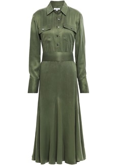Equipment Woman Lenora Washed Silk-blend Midi Dress Army Green