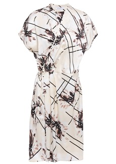 Equipment Woman Leonce Pleated Printed Washed-silk Mini Wrap Dress Off-white