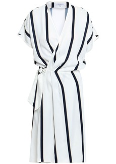 Equipment Woman Leonce Striped Washed-twill Wrap Dress White