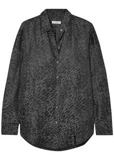 Equipment Woman Leopard-print Silk-blend Jacquard Shirt Anthracite