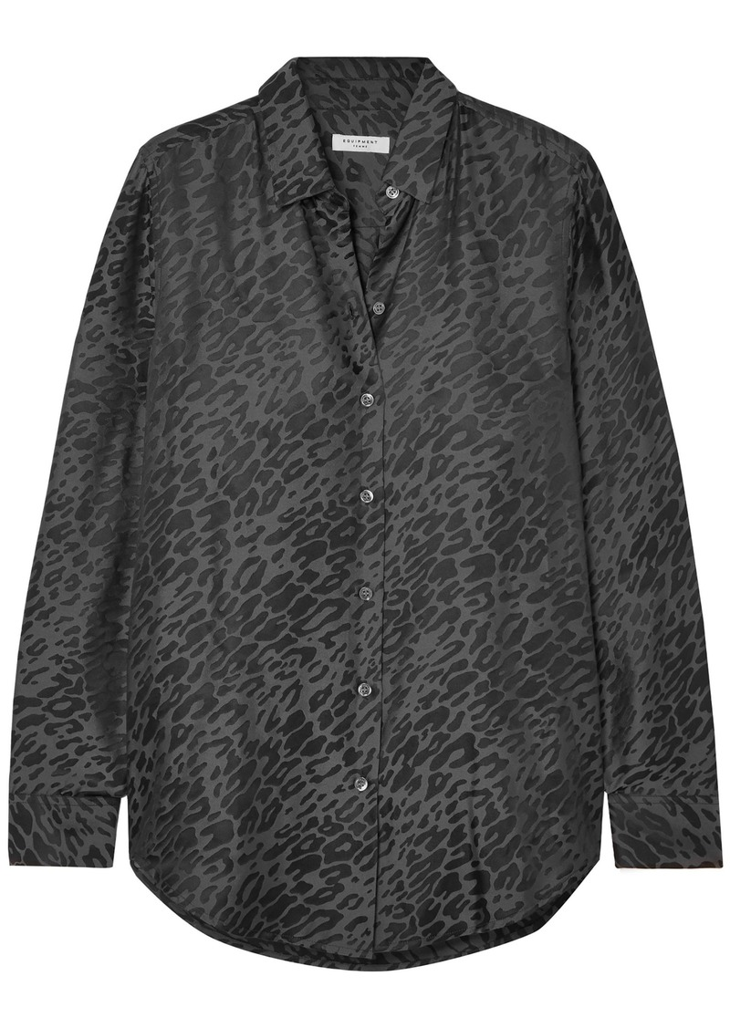 Equipment Woman Leopard-print Silk-blend Jacquard Shirt Anthracite