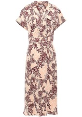 Equipment Woman Leopard-print Silk-blend Midi Shirt Dress Sand
