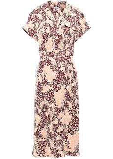 Equipment Woman Leopard-print Silk-blend Midi Shirt Dress Sand