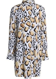 Equipment Woman Leopard-print Silk Crepe De Chine Mini Dress Animal Print