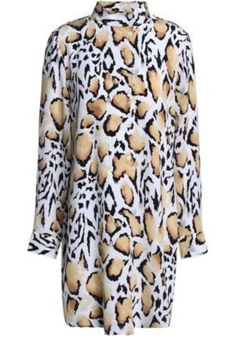 Equipment Woman Leopard-print Silk Crepe De Chine Mini Dress Animal Print