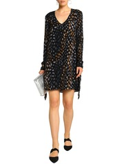 Equipment Woman Leopard-print Washed-silk Mini Dress Black
