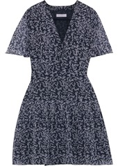 Equipment Woman Lisle Pleated Floral-print Silk-chiffon Mini Dress Midnight Blue