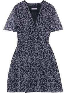 Equipment Woman Lisle Pleated Floral-print Silk-chiffon Mini Dress Midnight Blue