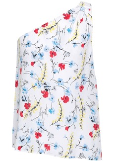 Equipment Woman Lucina One-shoulder Floral-print Washed-silk Top White