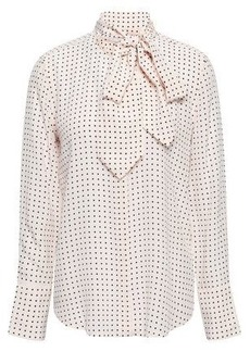 5b04d004ec0c4 Equipment Woman Luis Pussy-bow Polka-dot Washed-silk Blouse Pastel Pink