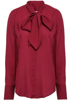 Equipment Woman Luis Pussy-bow Washed-silk Blouse Crimson