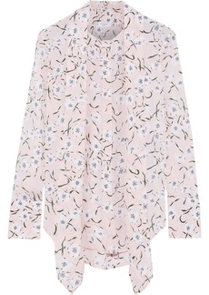 Equipment Woman Luis Tie-neck Floral-print Washed-silk Blouse Pastel Pink