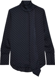 Equipment Woman Luis Tie-neck Polka-dot Washed-satin Blouse Midnight Blue