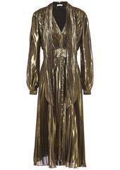 Equipment Woman Macin Pleated Silk-blend Lamé Midi Dress Gold