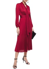 Equipment Woman Macin Tie-neck Pleated Washed-satin Midi Dress Crimson