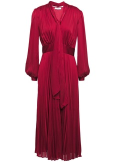 Equipment Woman Macin Tie-neck Pleated Washed-satin Midi Dress Crimson