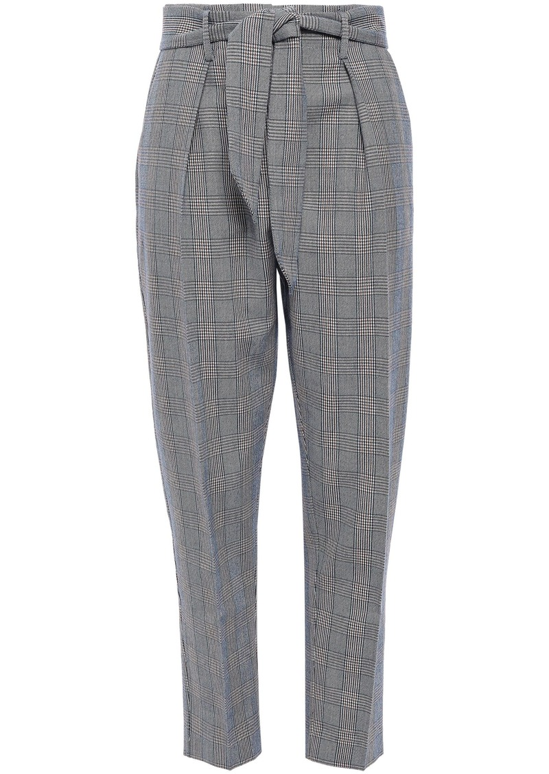 Equipment Woman Marcelle Tie-front Prince Of Wales Checked Cotton And Wool-blend Tapered Pants Navy