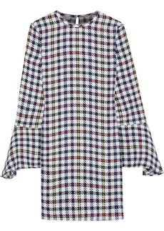 Equipment Woman Mari Checked Washed-silk Mini Dress Violet