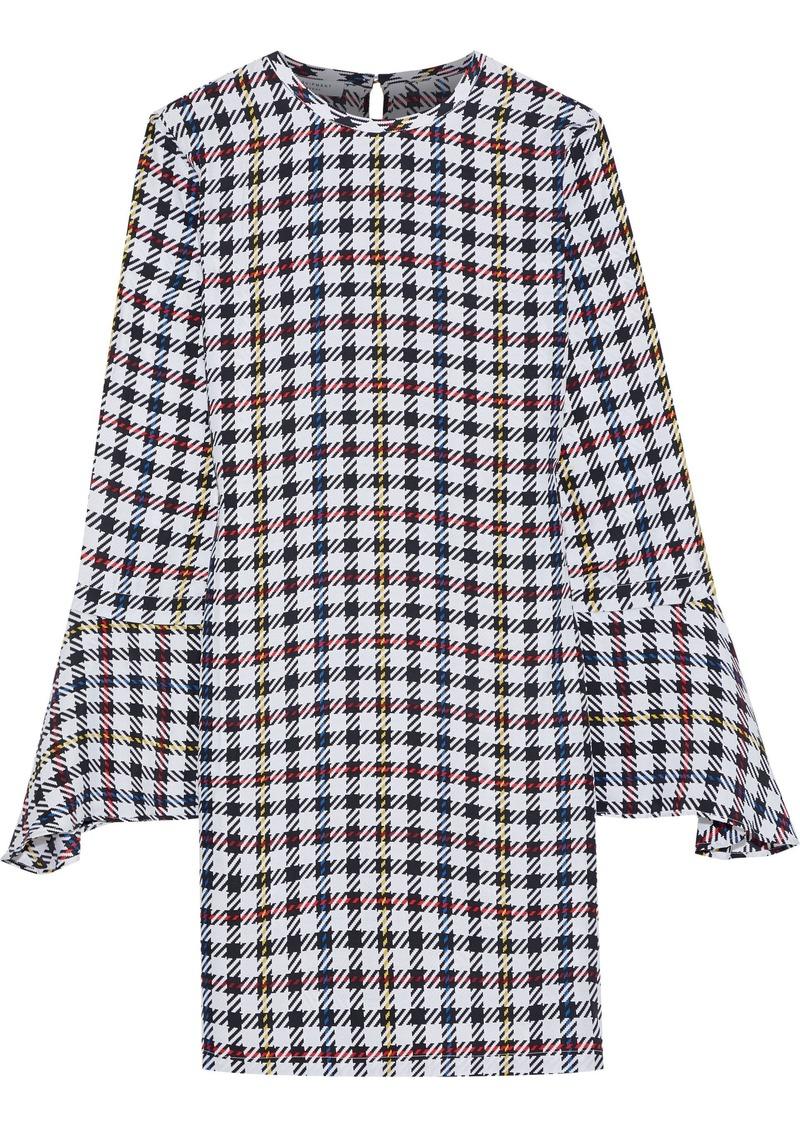 Equipment Woman Mari Checked Washed-silk Mini Dress Violet