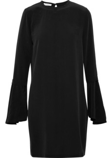 Equipment Woman Mari Fluted Washed-silk Mini Dress Black
