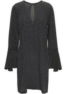 Equipment Woman Mari Polka-dot Washed-silk Mini Dress Black