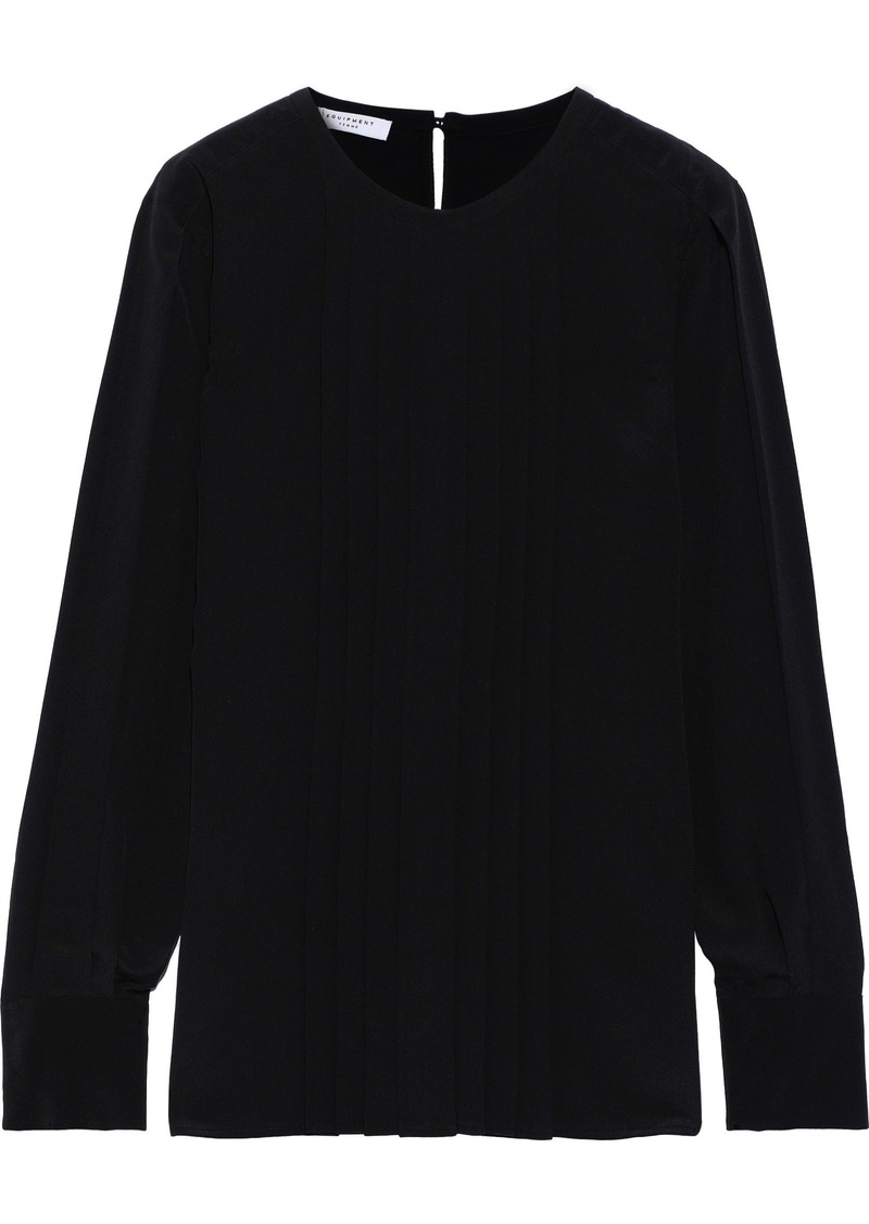 Equipment Woman Marilla Pleated Washed-silk Blouse Black