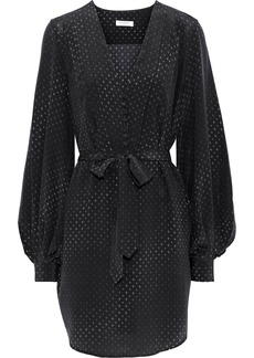 Equipment Woman Meadow Belted Printed Washed-silk Mini Dress Black