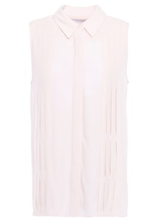 Equipment Woman Melisande Pintucked Washed-crepe Shirt Pastel Pink