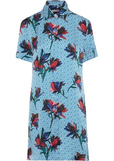 Equipment Woman Mirelle Printed Silk-satin Mini Shirt Dress Azure
