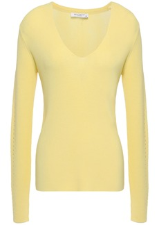 Equipment Woman Myrian Pointelle-trimmed Knitted Sweater Pastel Yellow
