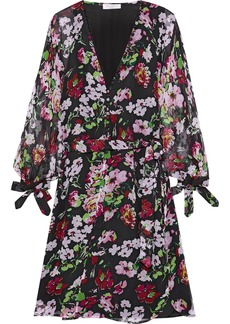 Equipment Woman Natasha Button-detailed Floral-print Silk-georgette Mini Dress Black