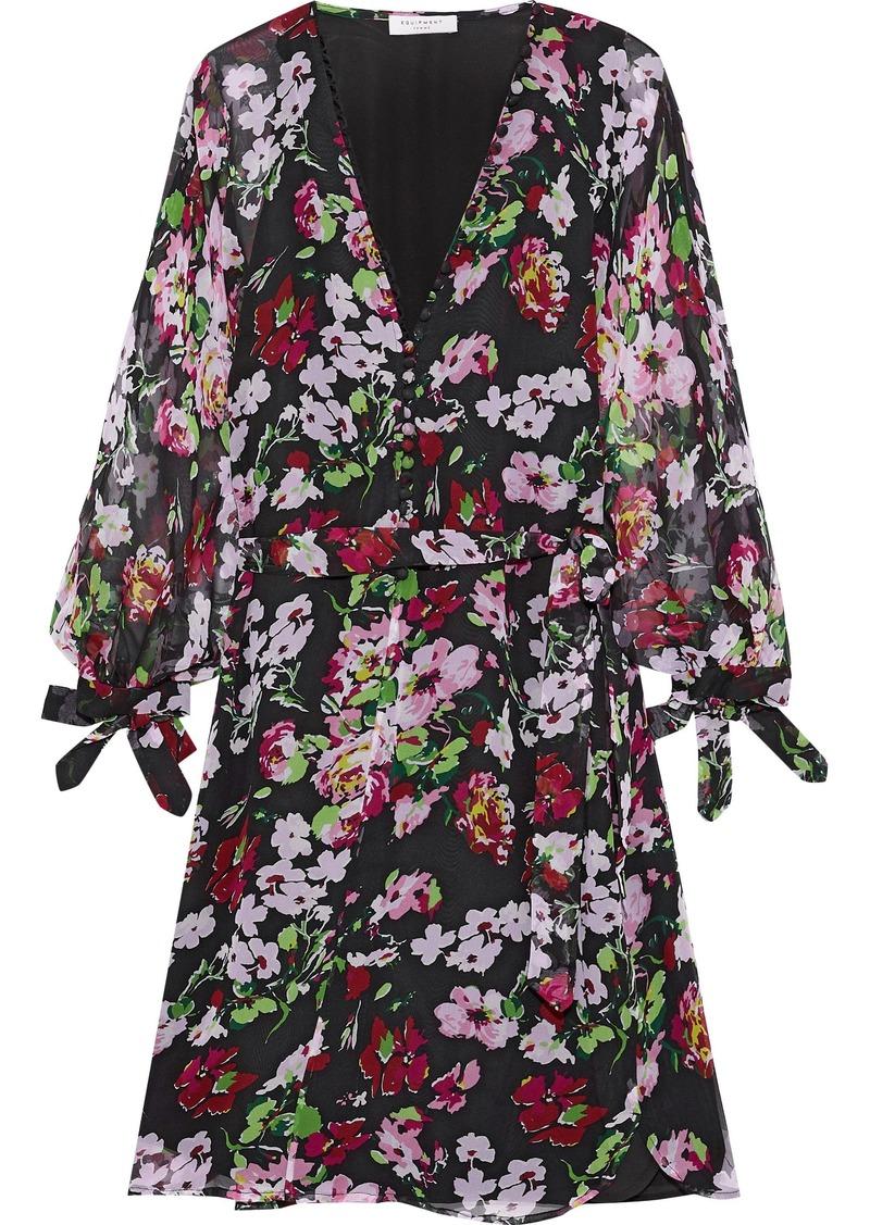 Equipment Woman Natasha Button-detailed Floral-print Silk-georgette Mini Dress Black