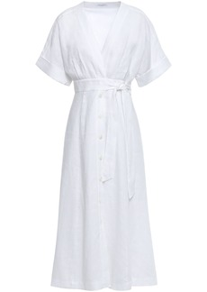 Equipment Woman Nauman Belted Linen Midi Dress White